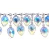 Rhinestone Trim Drops By Yard 35mm Crystal Aurora Borealis/silver
